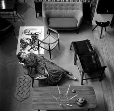 Scandinavia (Wenda Parkinson and Furniture), British Vogue, July 1955.