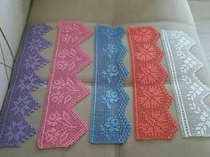 Crochet Borders, Filet Crochet, Hand Embroidery Flowers, Crochet Bedspread, Log Cabin Quilts, Thread Work, Baby Knitting Patterns, Hobbies And Crafts, Stitch