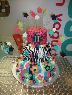 Zebra and Leopard Tween Birthday Cake