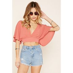 Forever 21 Women's  V-Neck Split-Back Crop Top ($18) ❤ liked on Polyvore featuring tops, woven top, forever 21 tops, forever 21, v neck top and rayon tops