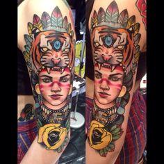 India neotradicional #tattootribal #neotradicional #newtraditional #tigerneotraditional #girlneotraditional
