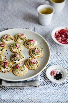 Mascarpone Canapes with Sprouts, Pickled Onions and Smoked Sesame Seeds - a beautiful and tasty snack.
