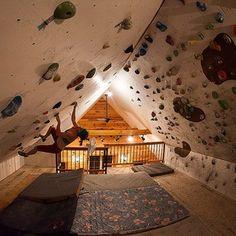 (Freddie Wilkinson) Indoor overhang climbing bouldering wall