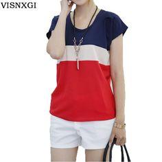 Womens T-shirts Fashion Tshirt Summer Style Women Tricolor Stitching T Shirt Short-sleeved Women Tee Femme Patckwork Tops ST032