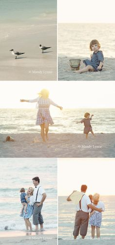 Timeless beach photos -- not sure how I feel about the grey highwaters (haha!) but I love the gingham dress and simple blue outfit!