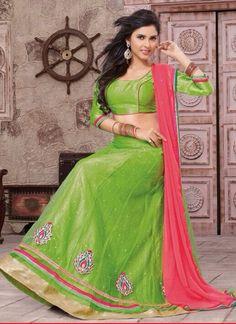 http://www.angelnx.com/ Parrot green lehanga choli
