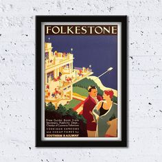 1950s Folkestone // Kent // Southern Railway // High Quality Fine Art Reproduction Giclée Print / Vintage Poster / Canvas by WiredWizardWeb on Etsy