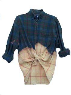 Blue flannel plaid shirt grunge bleach dye dipped slouchy for Bleach nice vibe shirt