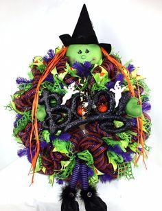 Happy Halloween Trick Or Treat ,Witch w Pumpkin Deco Mesh Wreath #Crazyboutdeco