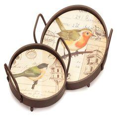 Melrose International Bird Pattern Tray - Set of 2 - 62378