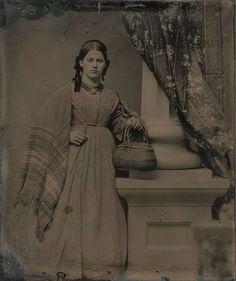 Woman, basket, shawl. Dennis Waters, Fine Daguerreotypes