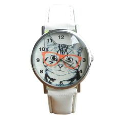 Cartoon Cat Leather Band Quartz Watch