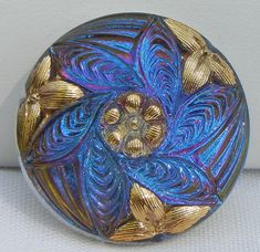 Leaf Cluster Czech Glass Button by MostlyButtons on Etsy