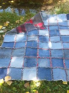 Denim and Flannel Lap Quilt Rag Style by DenimHugs on Etsy, $100.00