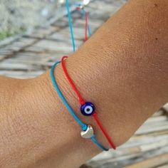 Tiny heart charm bracelet String bracelets Evil eye bracelet