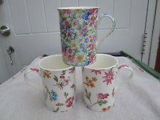 Mug Heron cross pottery Mille fleure chintz design & two flower design x 3 mugs