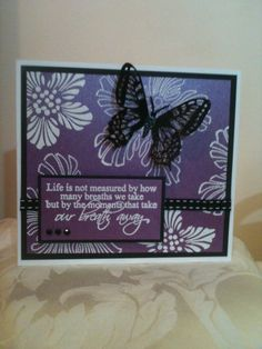 Butterfly card made using a heat embossed background and the sentiment is from Kazzaz.