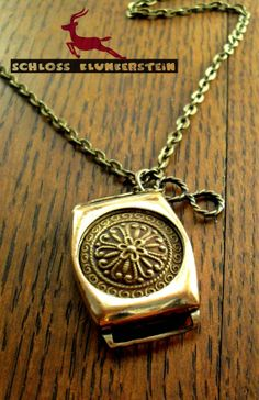INFINITY WISH BOX - unique Steampunk neclace with pre 20ies 14kt goldfilled watchcase and antique brass findings
