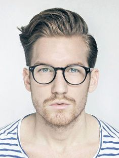 Side Combed Hairstyle with Glasses