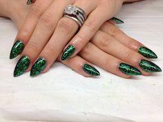 Y Green Stiletto Nails