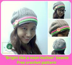 Crochet �Bright Like a Neon Button� Beanie Hat by Maz Kwok�s Designs