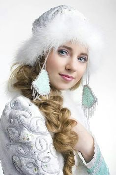 Snegurochka or Snegurka (The Snow Maiden) is granddaughter and helper of Ded Moroz (Father Frost, russian Santa Claus). In another version of the story she is the daughter of Vesna Krasna (Spring the Beauty) and Ded Moroz.