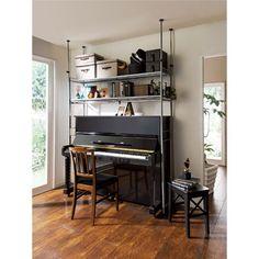 ハンガーラックなのにピアノ上、デスク上もOK!頑丈フレキシブルスチールラック幅103〜160cm