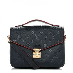 a4477252cb853 This is an authentic LOUIS VUITTON Empreinte Pochette Metis in Marine and  Rouge. This chic