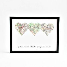 Long Distance Family Gift for Mom, Mother's Day Gift, Distance Gifts for Mom, Grandparents Distance Gift, Customized Distance Map, Map Gifts by salvagedstudiomke on Etsy