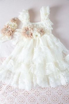Ivory Lace Flower Girl Dress Ivory Lace Baby by CountryCoutureCo Vintage Flower Girls, Vintage Girls Dresses, Ivory Flower Girl Dresses, Lace Flower Girls, Little Girl Dresses, Dress Vintage, Baby Dress, The Dress, Baby Tutu Dresses