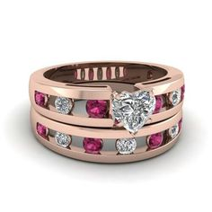 Rose Gold with raspberry diamonds