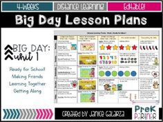 Four weeks of Big Day for PreK lesson plan for distance learning or face-to-face instruction.Includes the following topics:Week 1: Ready for School!Week 2: Making FriendsWeek 3: Learning TogetherWeek 4: Getting AlongThis product also includes:4 editable lesson plans1 editable lesson templateList of ... School Week, Back To School, School Readiness, School Lessons, Teacher Newsletter, Classroom Management, Big Day, Lesson Plans, Distance