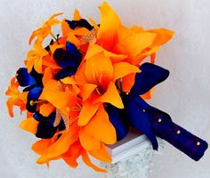 Tiger Lily Bouquet Starfish Beach Wedding Bouquet Grooms by 3Mimis
