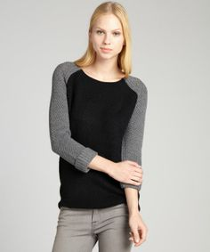 DEX : black and charcoal textured knit raglan sleeve back zip sweater : style # 324318102