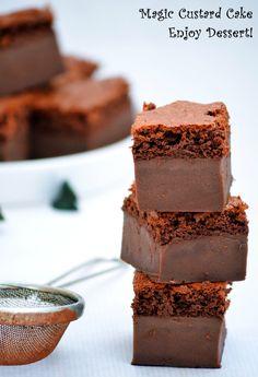 Magic Chocolate, Chocolate Custard, Chocolate Cake, Magic Custard Cake, Breakfast Dessert, Breakfast Ideas, Food Cakes, Sweet Cakes, Something Sweet
