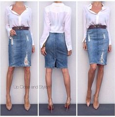 Vince shirt, Zara skirt, Lanvin belt and Louboutin Pigalle Denim Pencil Skirt Outfit, Denim Skirt Outfits, Denim Outfit, Casual Outfits, Summer Outfits, Cute Outfits, Denim Fashion, Look Fashion, Fashion Outfits
