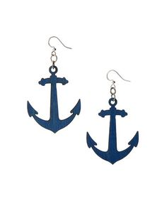 Royal Blue Navy Nautical Anchor Drop Earrings