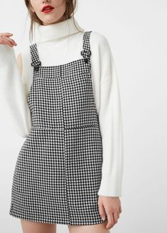 Houndstooth pinafore dress - Dresses for Woman | MANGO USA