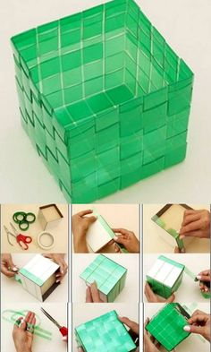 how to make pet bottle basket - Crafts Videos Reuse Plastic Bottles, Plastic Bottle Crafts, Recycled Bottles, Recycled Art Projects, Recycled Crafts, Diy Projects, Organiser Son Dressing, Pet Recycling, Basket Crafts