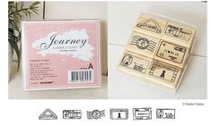 A Set of Korean Wooden Rubber Stamp Set Theme: Airmail Stamp Motfis    Total: 6 wood rubber stamps as show in Picture Box size: 82mm x 92mm