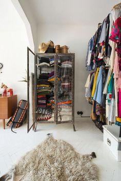 DIY Walk In Closet - How To Turn Spare Room Into Closet Shop domino for the top brands in home decor and be inspired by celebrity homes and famous interior designers. domino is your guide to living with style. Diy Walk In Closet, Wardrobe Closet, Closet Bedroom, Closet Space, Dream Bedroom, Open Wardrobe, Closet Storage, Closet Organization, Open Clothes Storage