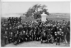 "William Tipton shot this image at the 12th New Jersey monument dedication at Gettysburg on June 30, 1888. An enlargement of the image reveals the words""12th Regt. N.J.V. Buck and Ball"" on the sign on the tree in the background. The regiment was outfitted with .69-caliber smoothbore muskets that fired a bullet and buckshot, devastating weapons at close range. The regiment used those weapons to flush Rebels from the Bliss Farm on July 2, 1863 at Gettysburg."