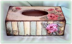 decoupage or paint it Decoupage Box, Decoupage Vintage, Tissue Box Covers, Tissue Boxes, Tissue Holders, Tole Painting, Painting On Wood, Shabby Chic Accessories, Altered Boxes