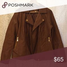 NWOT. Anthology Vegan Leather Jacket NWOT. Anthology Brown Vegan Leather Jacket. New. Never Worn. No Tags. Great Asymmetrical Zipper Closure. Gold Hardware and Accents. Pristine Condition. Bare Anthology Jackets & Coats