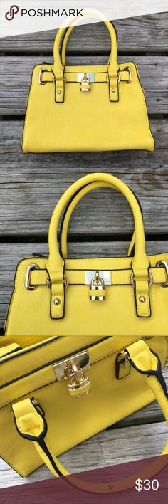 """YELLOW LOCK SATCHEL SHOULDER BAG PURSE HANDBAG !! Tags - Amazing Awesome Cool Beautiful Stunning Yellow / Black Trim Detailing Gold Tone Metallic Metal Hardware Lock Small Satchel Tote Handbag Bag Purse Faux Leather Soft Smooth Charming Charlie Designer Inspired 