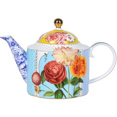 Material: porcelain. Dimensions: H18x16cm. Porcelain teapot in a mix of bright colours & patterns. Chic gold handle. Not suitable for dishwasher or microwave us...