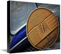 "Patek Philippe Geneve Commemorative Medal Coin $93 // Style: Black Edge Canvas Print; Size: Medium 16"" x 21"" // Visit http://www.imagekind.com/Patek-Philippe-Geneve-PPG_art?IMID=1f63993e-3b0d-4b44-8521-e4fef1f8974d for product details."