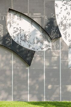 Blocs Green Camouflage by Shma Company Limited « Landscape Architecture Works Metal Facade, Metal Screen, Laser Cut Panels, Metal Panels, Landscape Model, Contemporary Landscape, Camouflage, Facade Design, Wall Design