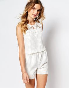 Image 1 of Darccy Broderie Romper with Lace Trim
