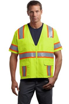 Buy the CornerStone - ANSI 107 Class 3 Dual-Color Safety Vest Style CSV406 from SweatShirtStation.com, on sale now for $23.78 #cornerstone #reflective #ansi Yellow Orange